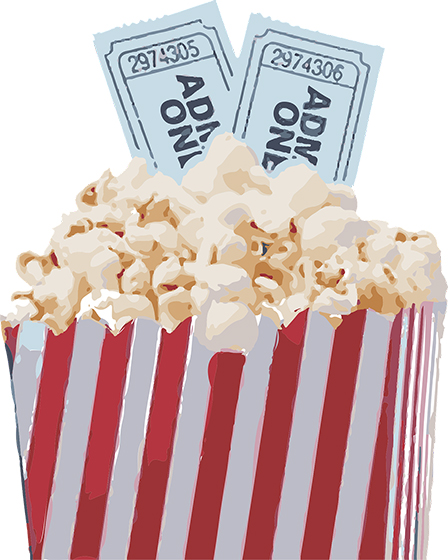 Paquete de palomitas con entradas de cine para ilustrar el sorteo de entradas de cine del Centro Comercial Alzamora en octubre.