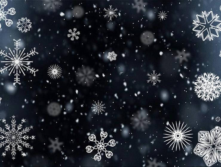 Copos de nieve para ilustrar el taller de Navidad en Alzamora de bolas de nieve